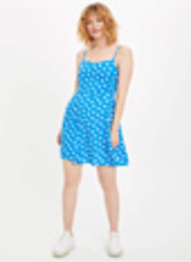 DeFacto Askılı Desen Detaylı Dokuma Elbise Mavi